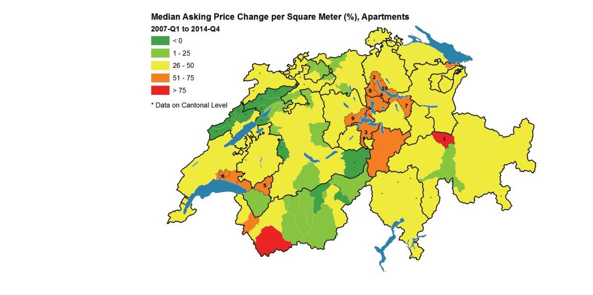 Map of median asking price for apartments in all Swiss districts as of 2014 Q 4